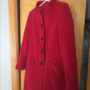 Red Wool Coat with Black Buttons LOFT